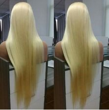 """28"""" 9A Brazilian #613 Blonde180% Density Silky Straight Lace Front Wig"""