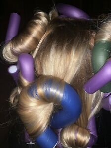 """NEW 9 Flexi Rods JUMBO 32mm 10"""" Bendy Spiral Curlers Blue 1-1/4"""" Ships from USA"""