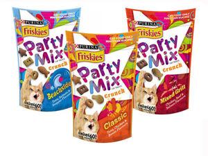 Purina Friskies Party Mix Cat Treats Crunch Grill Snacks Feline Feeding 60g.