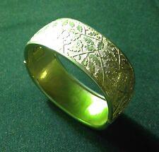 Wide Goldtone Hinged Bracelet with Ornate Oak Leaf Design