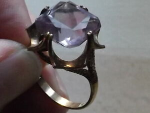 Vintage 9ct Gold Ring With 6 Carat Amethyst On Fancy Mount 5.18g UK Size Q c1973