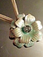 Statement Silver Tone & DIANANTÉ Flower Pendant & Soft Light Beige Rope Necklace