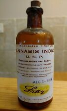 Vintage Medicine Hand Crafted Bottle, Cannabis Indica Lilly