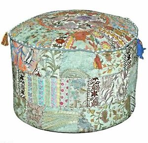 Indian Colorful Embroidered Vintage Pouffe Cover Patchwork Pouf Footstool Pouffe