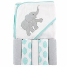 Luvable Friends Girl Hooded Towel with Washcloths, 6-Piece Set, Ikat Elephant