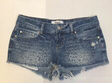 Victoria Secret Pink Denim Jean Shorts Leapord Print Size 4