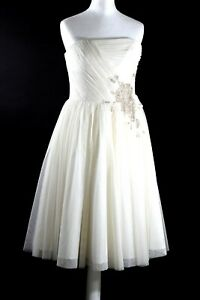 BNWT Coast cream To have & To hold With fur shrug Winter Summer wedding Dress 10