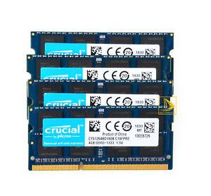 Crucial 4x 4GB 2RX8 PC3-10600S DDR3 1333Mhz Laptop Memory RAM SODIMM 204Pin @dd