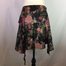 ALANNAH HILL Womens Size 10 Black Pink Gold Silk Short 'Pink Sorbet Lips Skirt'