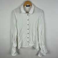 Cue Womens Blouse Top 10 White Polka Dot Long Sleeve Collared Button Front