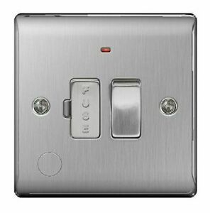 BG Nexus Brushed Steel 13A Switched Fused Connection Neon & Cable Outlet NBS53