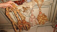 LOT OF 3 FRENCH ANTIQUE CURTAIN DRAPE TIEBACKS w/ 4 TASSELS