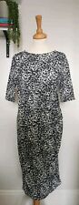 People Tree Organic Cotton Stretch Bodycon Black White Dress Fitted Career 14