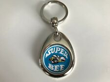 DODGE SUPER BEE DOUBLE SIDED KEYCHAIN BLUE & YELLOW