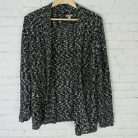 Chicos Cardigan Sweater Womens Size 1 Black White Brown Knit