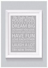 A4 Personalised Gift Print: Family House Rules Keepsake Home Decor Wall Art
