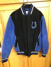 Indianapolis COLTS LEATHER Bomber/Varsity Jacket Blue/Black - SIZE Large Men's
