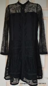 All Saints Nia Jolene Lace Dress in Black Size 8 BNWT £168
