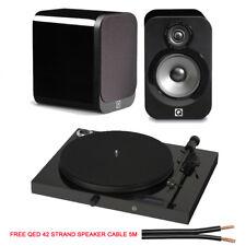 Pro-Ject Juke Box E & Q Acoustics 3010 Gloss Black Hifi Bundle+ 5m QED 42s Cable