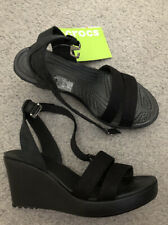 New With Box Crocs Leigh Wedge Black Sandals- UK4