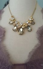 Elegant Champagne Crystal gold tone alloy Bib necklace w/ Anthropologie flair