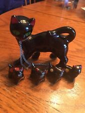 Vintage Black Cat With Her Four Kittys Figurines Redware