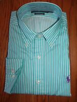 NWT Mens RALPH LAUREN DRESS SHIRT CLASSIC FIT GREEN WHITE STRIPED PURPLE PONY LS