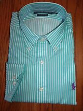 Mens Ralph Lauren Dress Shirt Classic Fit Green White Striped Purple Pony LS L