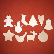 100 pcs UNSORTED mix of CHRISTMAS SHAPE DESIGNS HANGING TAGS PLAIN CRAFT WOODEN