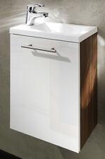 Waschplatz Alexo Hochglanz walnuss/weiß Gäste WC Waschbecken Waschtisch Badmöbel