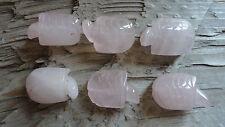 TURTLE Set C Rose Quartz (pk 6) Beautiful Carved Animal Beads Pendant stone set