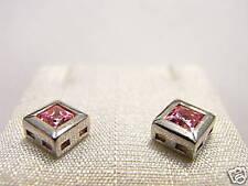 Orecchini silver 10 Cubic Zirconia rosa taglio princess