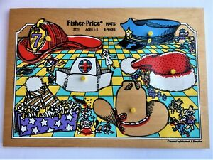 """Vintage Fisher Price Wooden Puzzle #2721 """"HATS"""" Ages 1-3"""