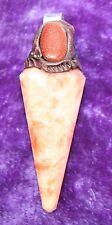 Goldstone & Orange Rainbow Cuarzo 12-sided Vogel Punto Colgante, Reiki Bendito
