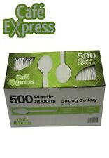 Bulk 500 x Plastic Spoons Cafe Express White Disposable Party Cutlery New