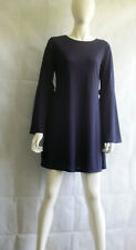 Two Tone Ribbed Swing Dress With Wide Sleeves and Tie Detail size 8/10