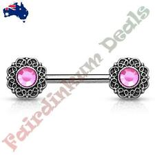 Nipple Barbell With Pink Crystal Tribal Heart Filigree Ends