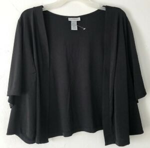 NEW Catherines 5X Open Front Shrug S/S Cardigan Poly/Spx Black