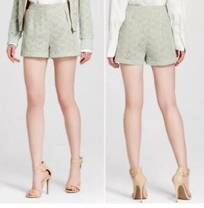 VICTORIA BECKHAM For Target Mint Lace Pleated Shorts Women's Plus Size 16W *NWT*