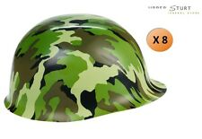 Plastic Camouflage Hat 8 Pack Camo Army Hats Party Supplies FREE SHIPPING