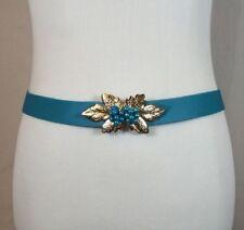 Vintage 80s 70s Women's Retro Blue Stretch Belt W/ Gold Tone Leaf & Bead Front