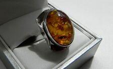 Vintage! 835 silver Fischland modernist star spangled whisky amber ring Q (US 8)