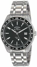 Rotary Legacy GMT Men's Quartz Watch with Black Dial Analogue Display and Silver