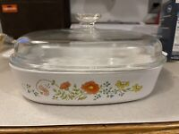 Corning Ware Wildflower Casserole A 10 B With Pyrex Lid 10 x 10 x 2 vintage