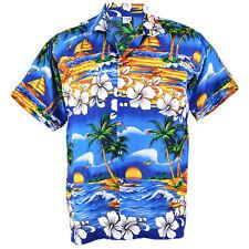 Hawaiian Shirt Aloha Hibiscus Chaba Isle Coconut Beach Blue L hcd264s bid