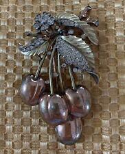 Beautiful Vintage Crown Trifari Rhinestone Leaves And Cherries Dress Clip Rare