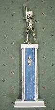 giant silver trophy softball female silver and blue metal column