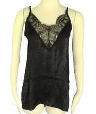 4 pack Womens Lace Trim Cami Tank Tops Satiny Camisole Top Black Ivory Pink Nude