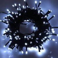 100 LED 10M Kaltweiß Lichterkette Vorhang Garten Beleuchtung Außenlichterkette
