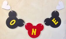 Boys 1st Birthday Mickey Mouse Style Party Banner Black